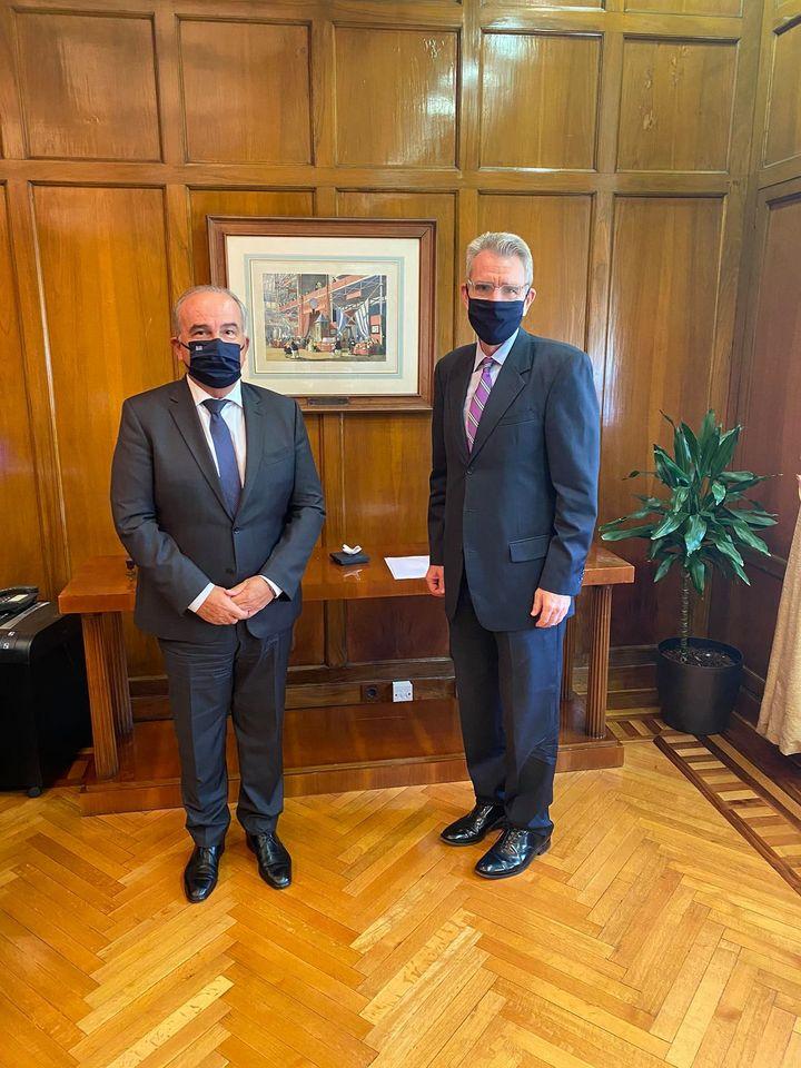 Συνάντηση του Αναπληρωτή Υπουργού Ανάπτυξης & Επενδύσεων κ. Νίκου Παπαθανάση με τον Αμερικανό Πρέσβη κ. G. Pyatt