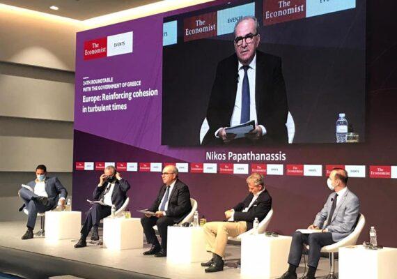 Ο Αναπληρωτής Υπουργός Ανάπτυξης και Επενδύσεων, κ. Νίκος Παπαθανάσης στο συνέδριο του Economist