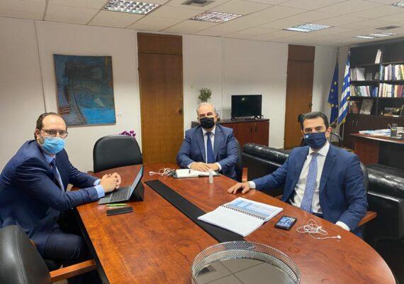 Συνάντηση του Αναπληρωτή Υπουργού Ανάπτυξης και Επενδύσεων κ. Νίκου Παπαθανάση με τον Υφυπουργό Αγροτικής Ανάπτυξης κ. Κωνσταντίνο Σκρέκα