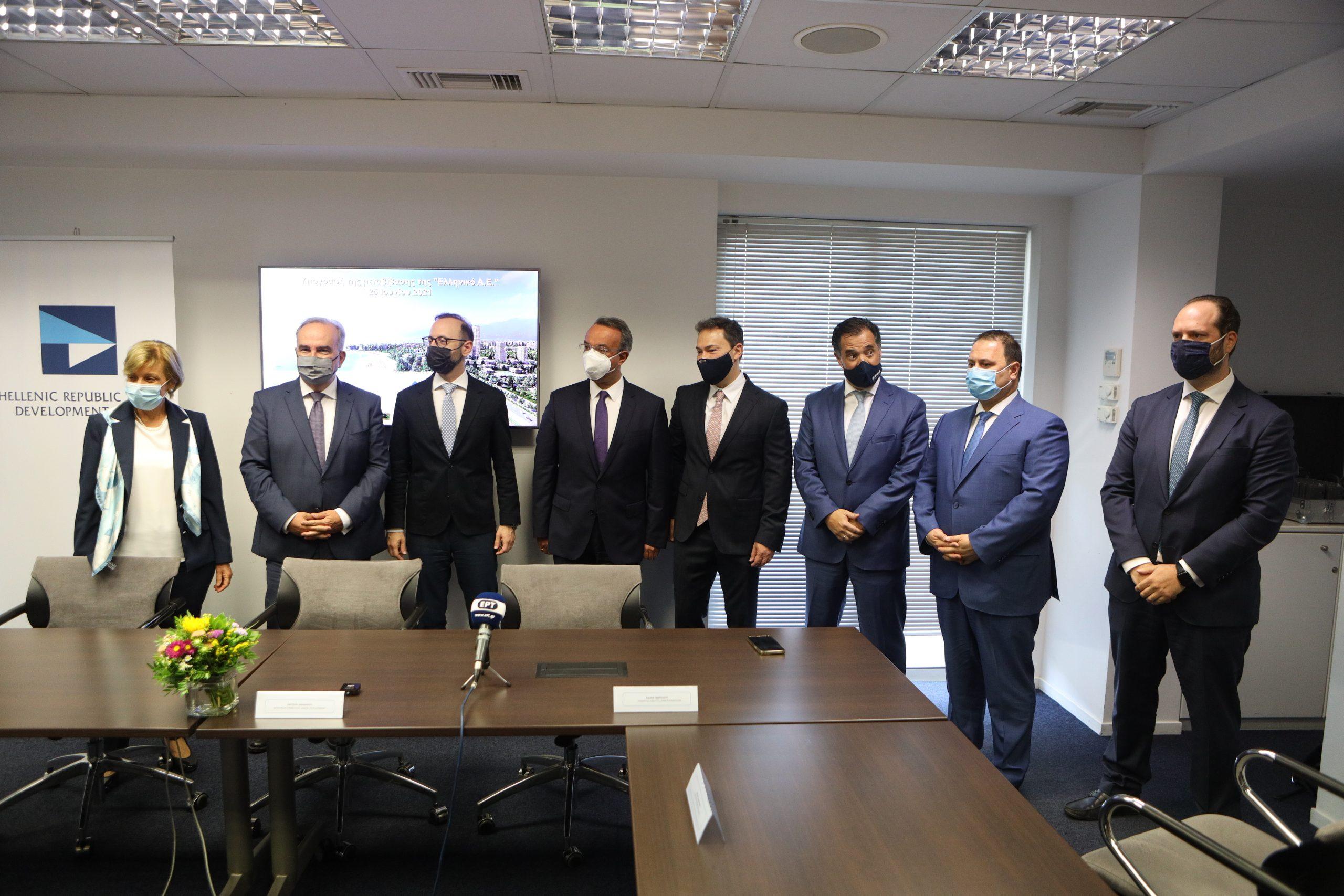 Δηλώσεις του Υπουργού Οικονομικών, κ. Χρήστου Σταϊκούρα, του Υπουργού Ανάπτυξης και Επενδύσεων, κ. Άδωνι Γεωργιάδη και του Αναπληρωτή Υπουργού Ανάπτυξης και Επενδύσεων, κ. Νίκου Παπαθανάση για την ολοκλήρωση της διαδικασίας μεταβίβασης της «Ελληνικό Α.Ε.» στη Lamda Development