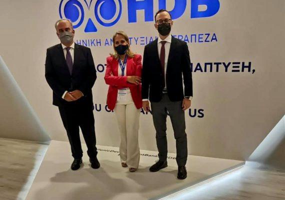 Ο Νίκος Παπαθανάσης στο περίπτερο της Ελληνικής Αναπτυξιακής Τράπεζας στην 85η ΔΕΘ